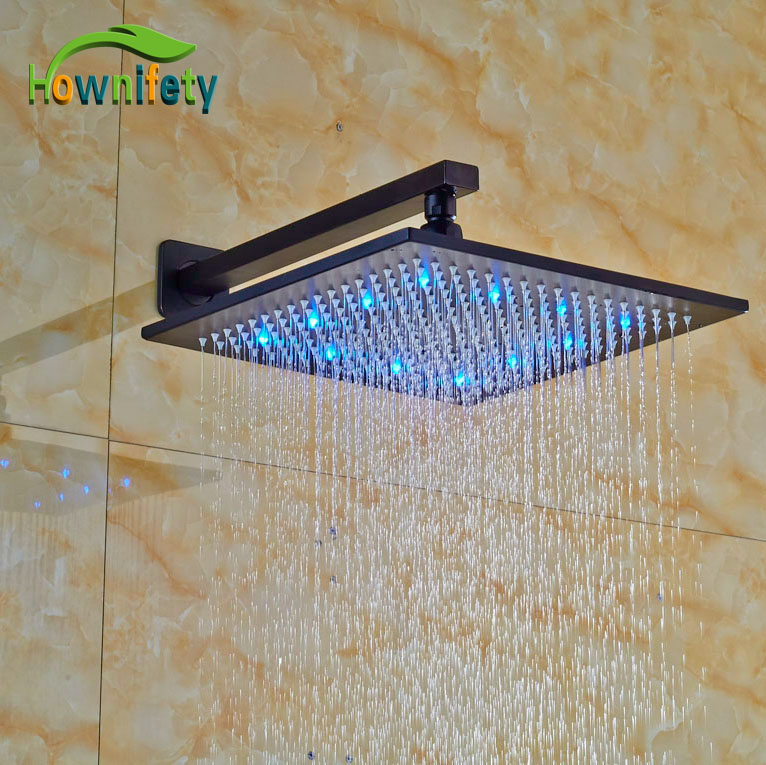 LED Color Changing Oil Rubbed Broze Shower Head Wall Mounted Rainfall Shower Head kemaidi led three color changing rainfall