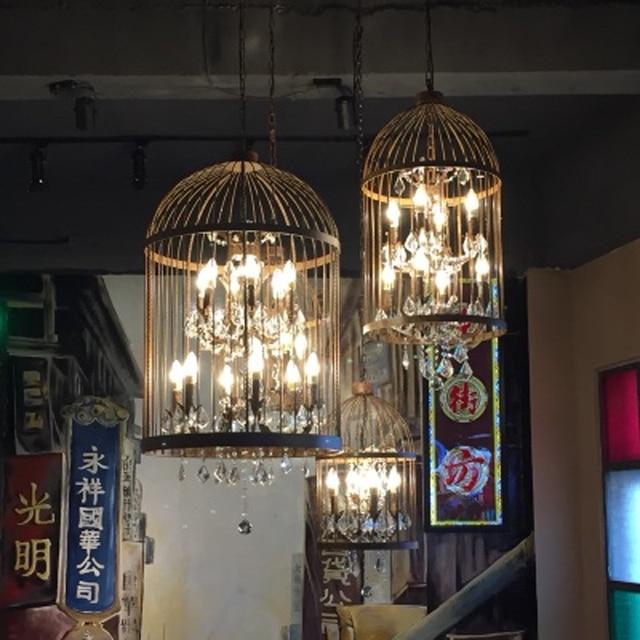 Birdcage Pendant Light Kitchen Vintage Home Lighting Wrought Iron Lamp Hanging
