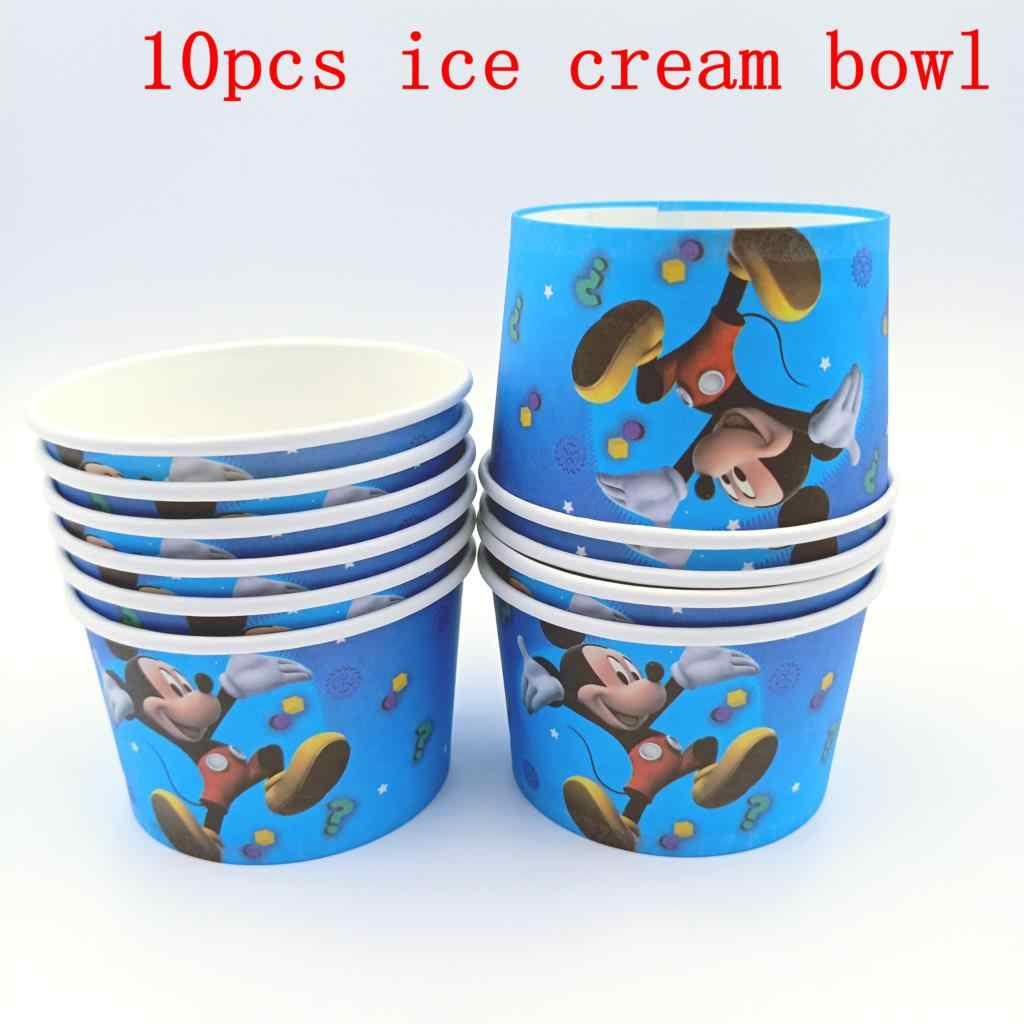 10PCS/LOT MICKEY ICE CREAM CUPS KIDS BIRTHDAY PARTY SUPPLIES MICKEY MOUSE HAPPY BIRTHDAY PARTY ICE CREAM BOWLS