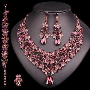 Costume Earrings-Set Bridal-Jewelry-Sets Statement Necklace Indian Gift Luxury-Accessories