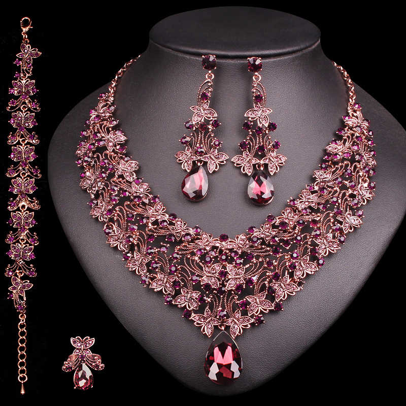 Vintage Statement Necklace Earrings Set Retro Indian Bridal Jewelry Sets Women's Party Costume Luxury Big Jewellery Gift for Mom
