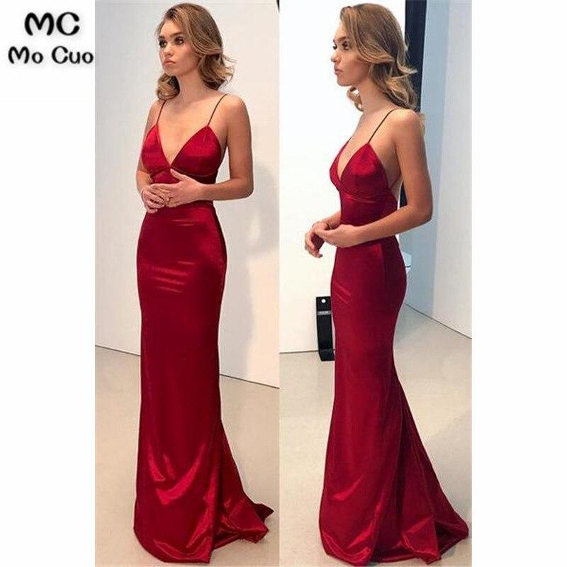 In Stock 2019 Mermaid Evening Dresses For Teens 8th Graduation Dress V-Neck Spaghetti Straps Evening Party Dress Custom Made