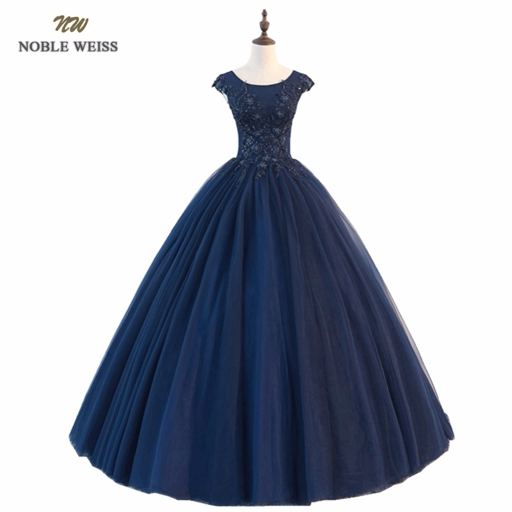 NOBLE WEISS Dark Blue Prom Dresses O-Neck Beading Robe De Soiree Ball Gown Floor-Length Evening Party Dress