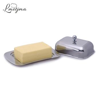 LMETJMA ze stali nierdzewnej maselniczka pudełko z pokrywką taca z serem trwałe masła ser serwery do przechowywania nie miał w tej sytuacji taca serem narzędzie KC0134 tanie i dobre opinie Sery narzędzia Ce ue STAINLESS STEEL Zaopatrzony Ekologiczne Metal Ser deski i tace Cheese Tray Cheese Butter