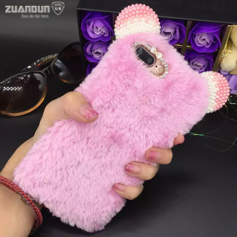 Luxury Rabbit Hair Case For iPhone 6 6S 4.7 For iPhone 6S 6 Plus Cover Bling Diamond Plush Furry Cover For iPhone 7 7 Plus Cases