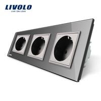 Livolo EU Standard Socket Black Crystal Toughened Glass Outlet Panel Triple Wall Power Sockets Without Plug