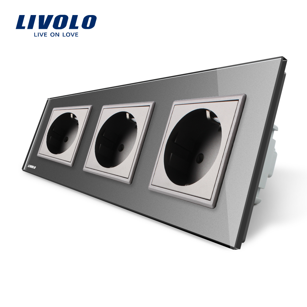 Livolo EU Standard Socket, Gary Crystal Toughened Glass Outlet Panel, Triple Wall Power Sockets Without Plug,VL-C7C3EU-15 atlantic brand double tel socket luxury wall telephone outlet acrylic crystal mirror panel electrical jack