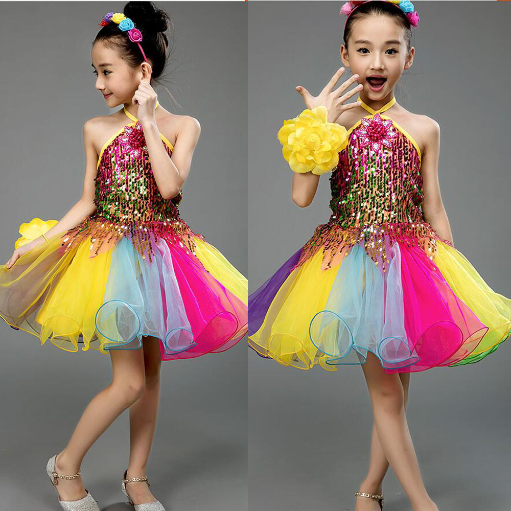 Girls Color Sequined Competition Ballroom Jazz Hip Hop Dance Costumes Fancy  dress Kids performance Dancing dress Outfits Suits