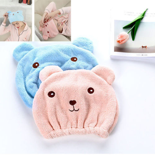 Cute Bear Microfiber Hair Turban Strong Absorb Quickly Dry Hair Hat Wrapped Hooded Towel Bathing Cap Dry Hair Hats Washcloth