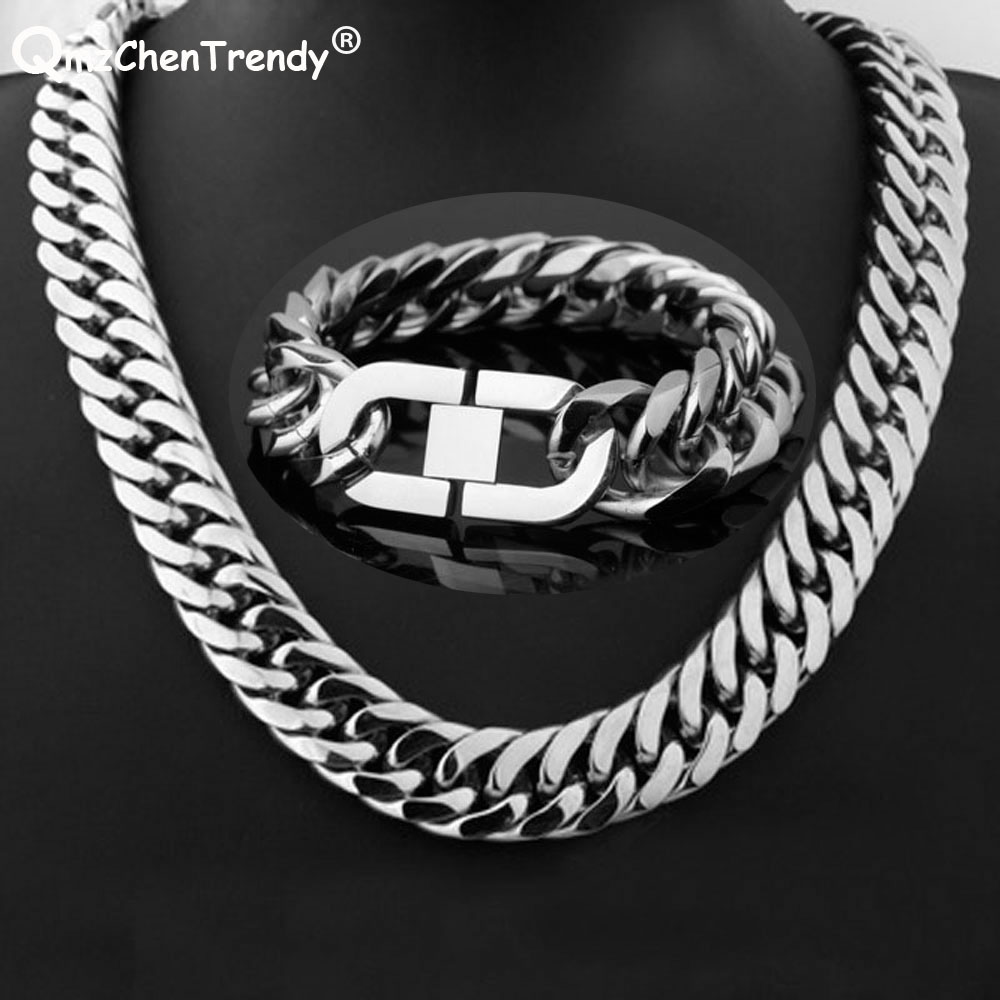 Hip hop Heavy Cuban Chains Men Necklace Bracelet Wholesale Thick Stainless Steel Long Big Chunky hiphop Link Jewelry Sets Gift thick gold chain set wholesale men s jewelry white black crystal buckle necklace bracelet stainless steel jewelry sets