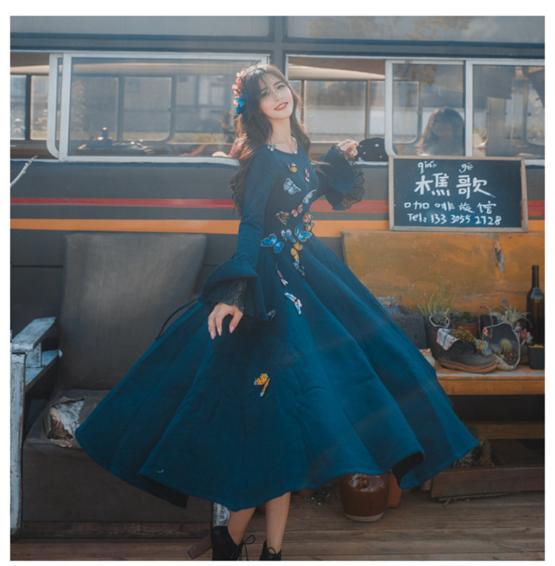 High Quality Explosions Leisure Retro wool matching Dresses Women spring autumn Casual Dress