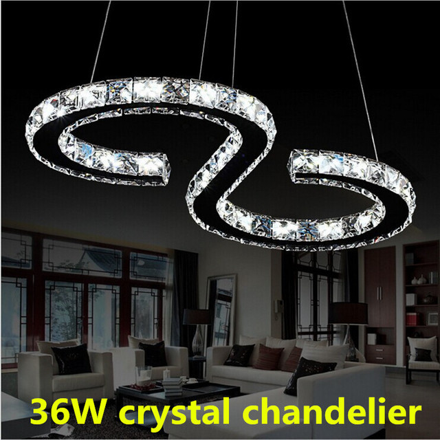 36w S Type Stainless Steel Crystal Chandelier Simple Stylish Restaurant Ceiling Lights Living Room Bedroom