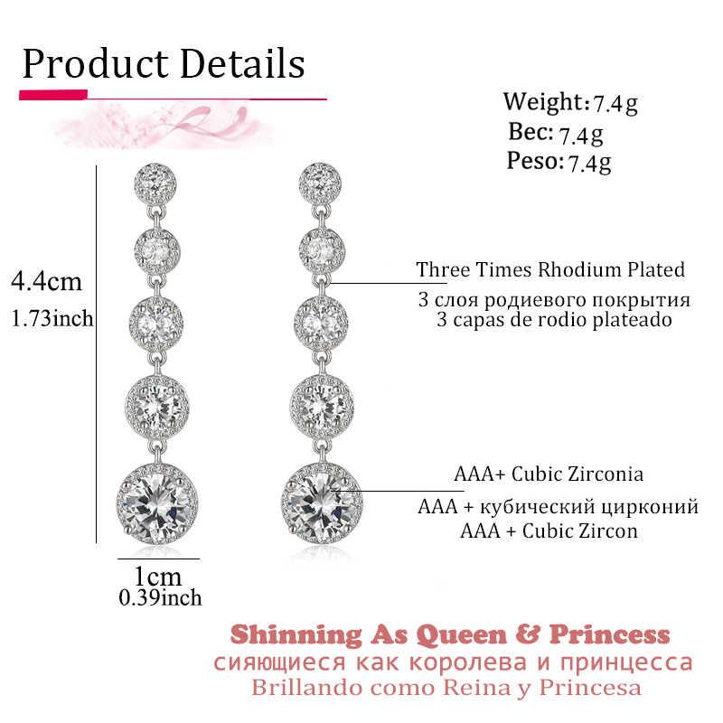 แฟชั่นรอบ Zircon ผู้หญิง Drop ต่างหู AAA Zirconia Silver สี Boho งานแต่งงานยาว Dangle ต่างหูเครื่องประดับเจ้าสาว