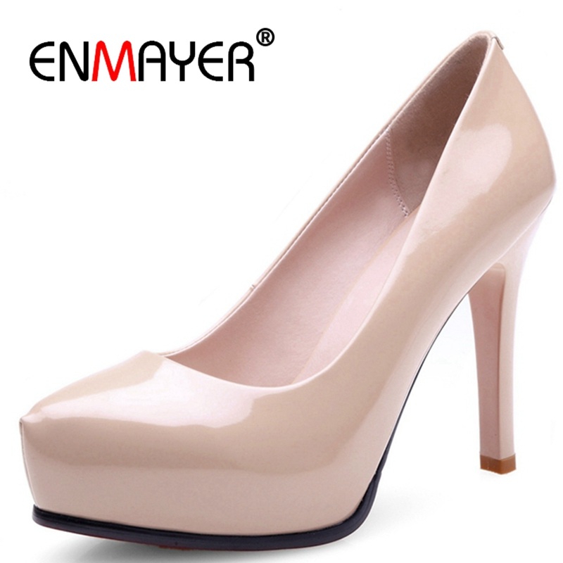 ENMAYER Sexy Pointed Toe Women Pumps Thin High Heels Shoes Woman Nightclub Wedding Party Nude Color Female Footwear shoes CR210 women pumps sexy pointed toe sweet colorful thin high heels woman shoes nude women s high heeled shoes nude fashion office heels