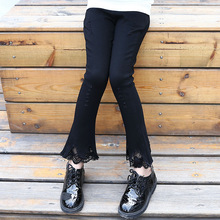 2016 autumn girls fashion black flared pants cotton fleece lining slim big kids winter lace thick bell bottom trousers FH164