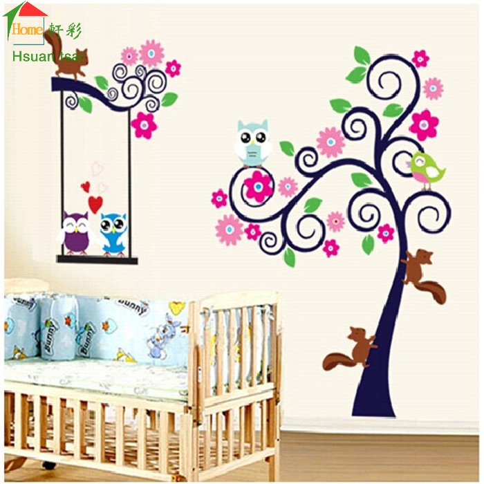 Animal cartoon owl tree wallpaper for kids wall decals for Wallpaper home decor living room