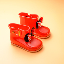 Melissa Wave point Bow Girl Rain Boots 2018 New Girls Boots Girls Water Shoes Baby Waterproof Shoes Jelly Sandals 13.5-18.5CM