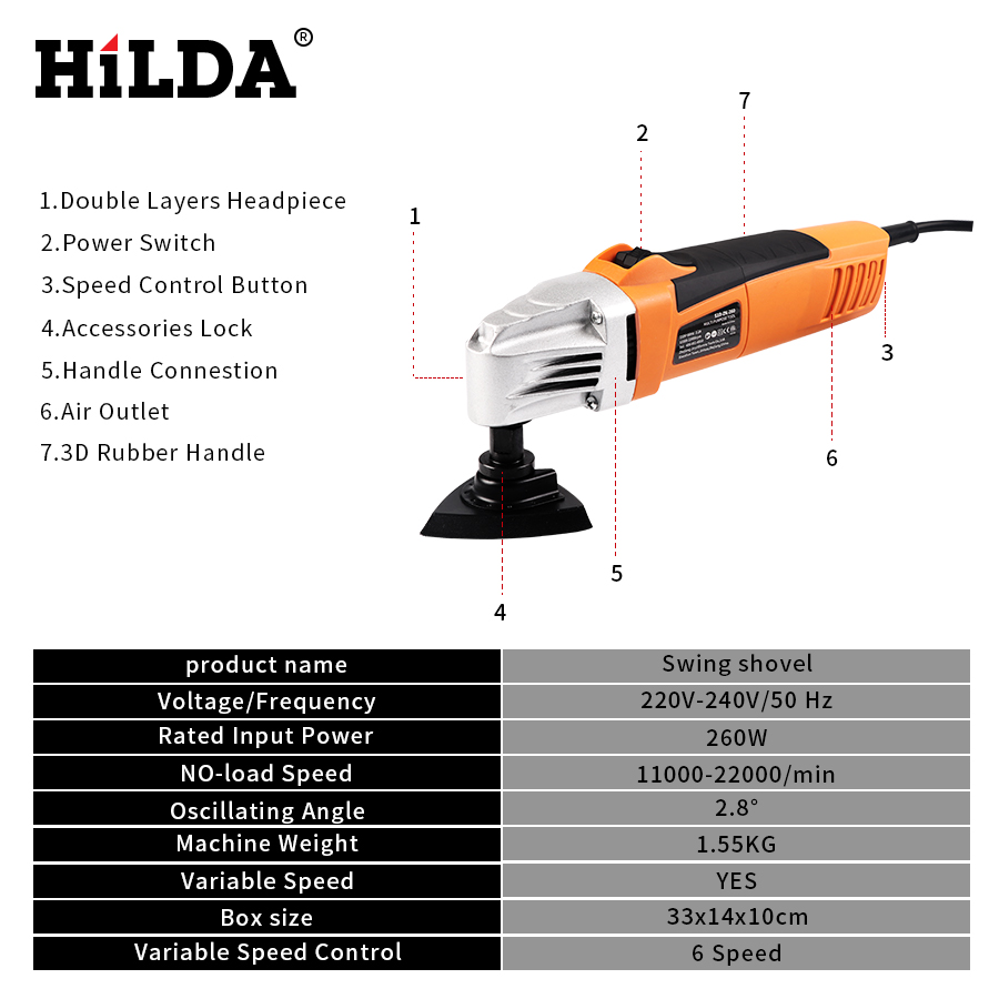 Image 3 - HILDA Renovator Multi Tools Electric Multifunction Oscillating Tool Kit Multi Tool Power Tool Electric Trimmer Saw Accessories-in Oscillating Multi-Tools from Tools on