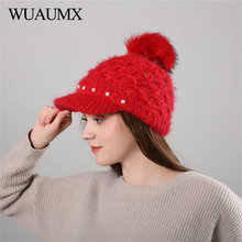 a5ec53406b6 Wuaumx Knitted Beanies Hat Pompom Winter Hats For Women Warm Female Beret  Hats With Velvet Pearl