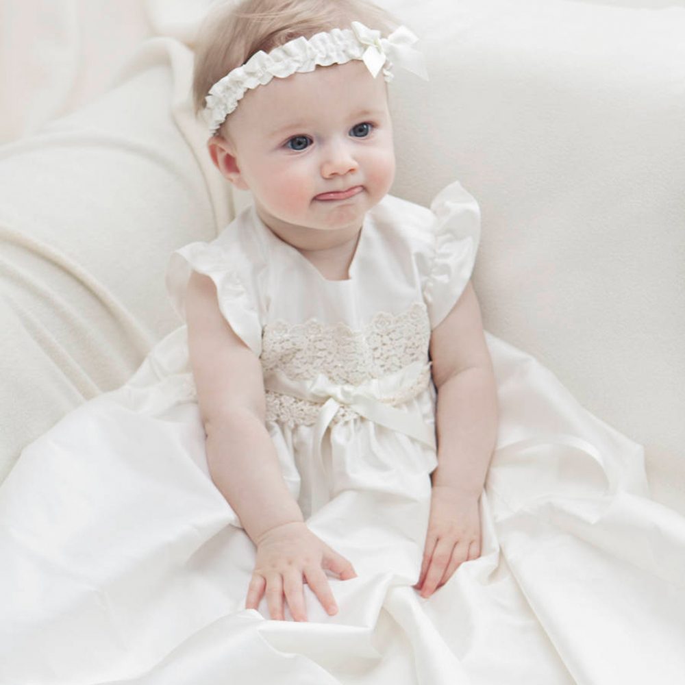 With Headband Baby Girl Christening Dresses Sleeveless A-line Appliques and Bow Formal A-Line 1 Year Birthday Baby Baptism Dress stamp a line womens day dress