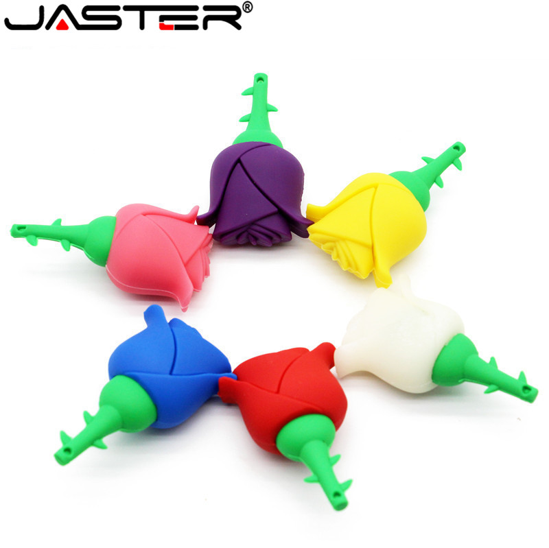JASTER 5 Colors Beauty Flower Pen Drive Red Rose Usb Flash Drive Pendrive 4GB 8GB 16GB 32GB 64GB Gift For Girls Lovers
