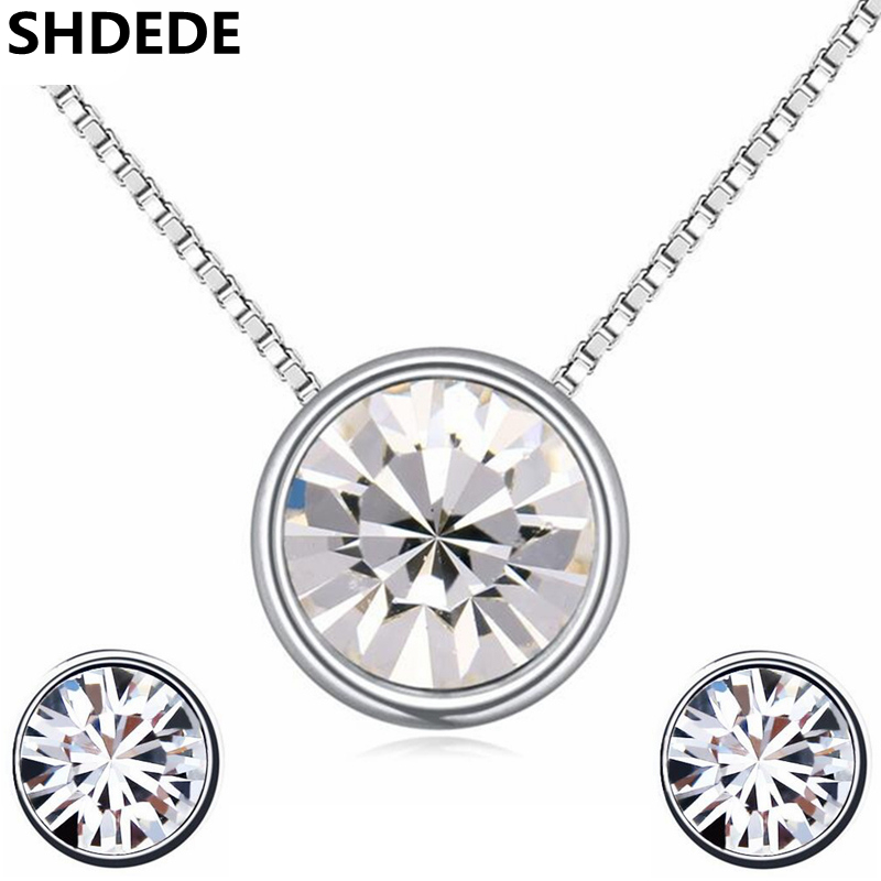 SHDEDE Crystal from Swarovski Fashion Jewelry Sets Necklace Earrings For Women Trendy Jewellery Luxurious Birthday Gifts -20119