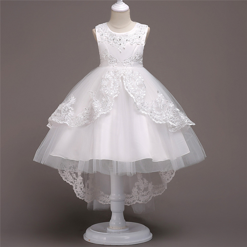 White Flower Girls Dress for Wedding and Party Big Girl Beading Dress Children Lace Crochet Clothing Kids High Low Dress Bow 2016 new style kids infant baby girl flower girl dress for wedding girls party dress with big bow lace dress for 3 8years