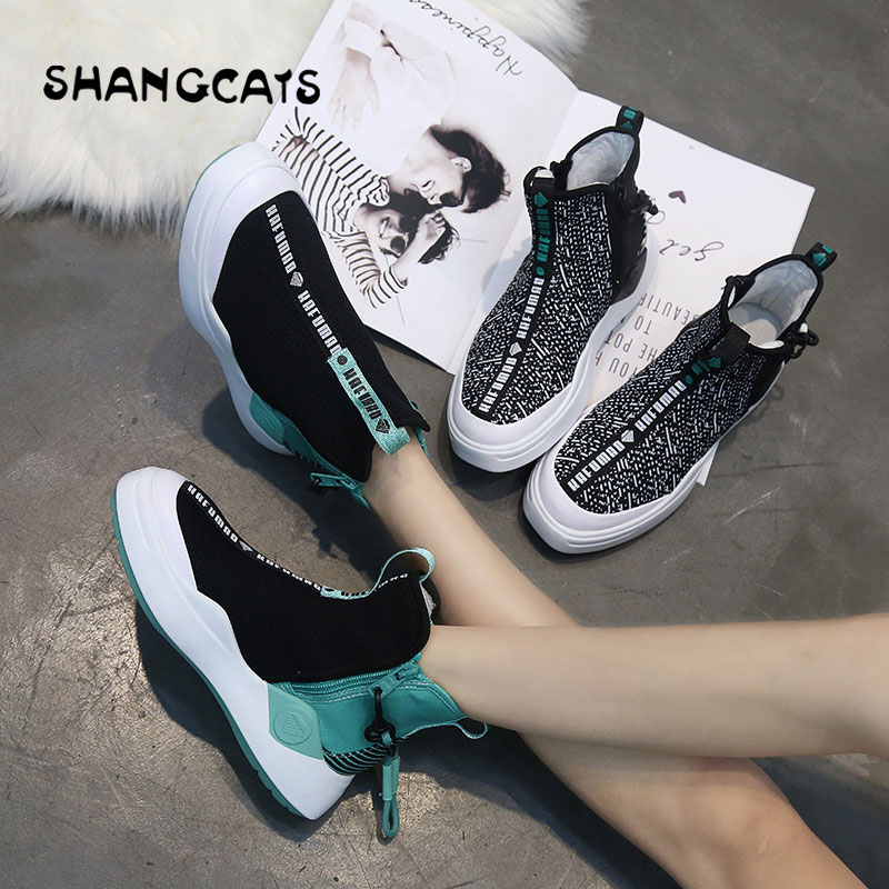 Winter canvas shoes high top women shoes casual trend 2018 ladies shoes cool fashion style winter sneakers for women zip shoes