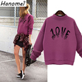 New Love Letters Print Long Batwing Sleeve Sudaderas Mujer 2017 Casual Plus Size Loose Pullover Women's Hoodies Sweatshirt C464