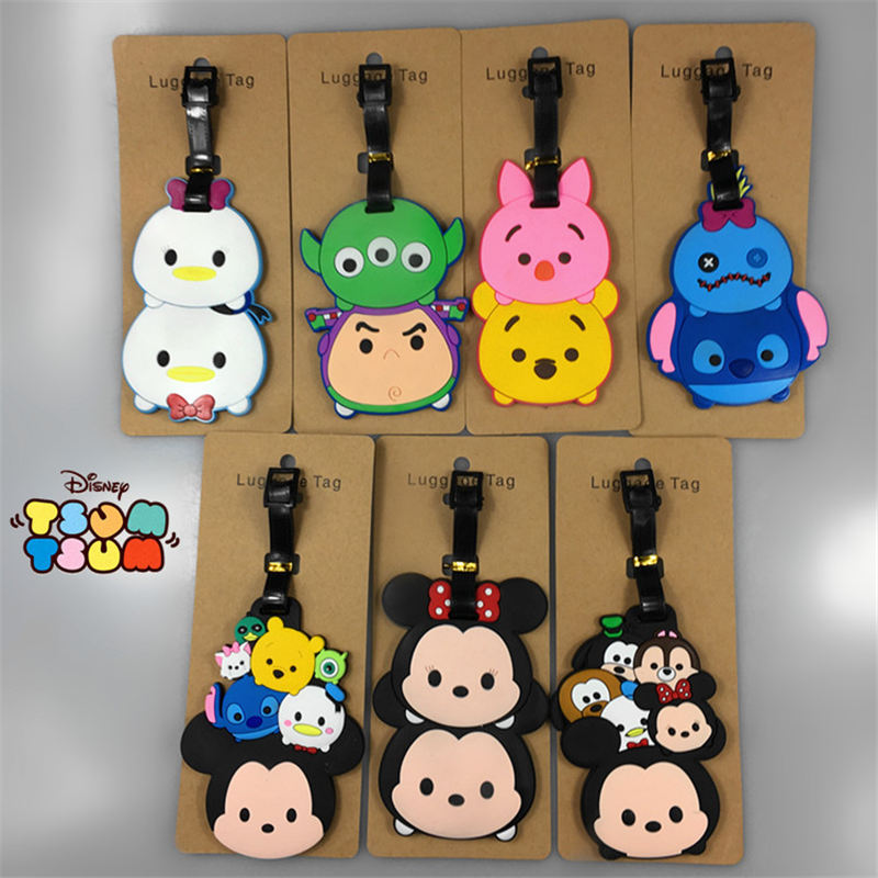 Disney Cartoon Mickey Mouse Luggage Tag Star Wars Suit Case ID Address Holder Baggage Boarding Tag Portable Label Silica