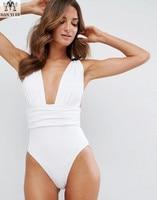 MANYIE Hot New Black White Red One Piece Swimwear Backless Bathing Suit Padded Deep V Monokini