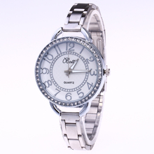 New Famous Brand Rhinestone Casual Quartz Watch Women Large Numbers Full Steel Watches Luxury Relogio Feminino Hot Sale