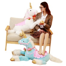 1pc 100cm Huge Cute Unicorn Horse Plush Toys Colorful Stuffed Animal Doll for Children Creative Birthday Gift for Girls Kids Toy cute unicorn horse animal 3d led 7 colorful wood lamp as lights for kids gift