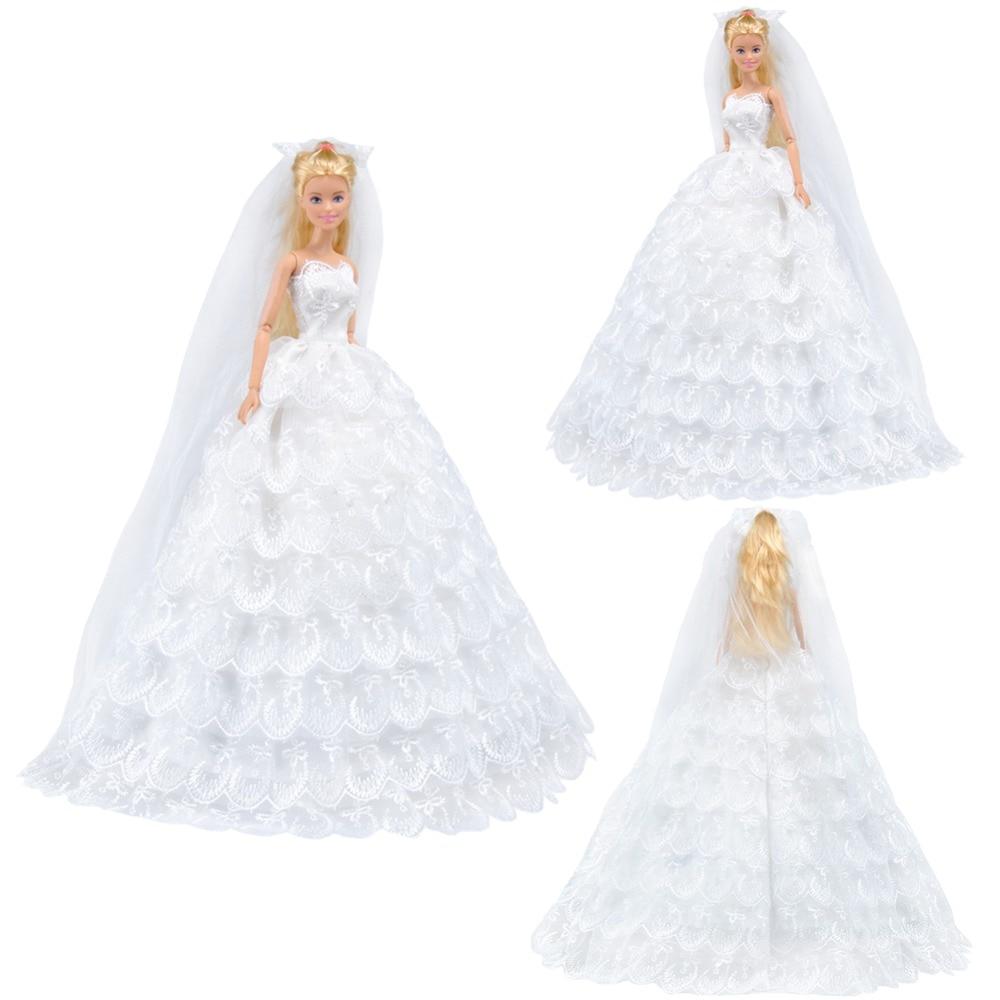 E TING Für Barbie Kleid Mode Weiß Alle Runde Hochzeit Westlichen ...