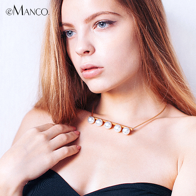 eManco Trendy Simple Collar & Torques Necklace for Women & Girls Simulated Pearl