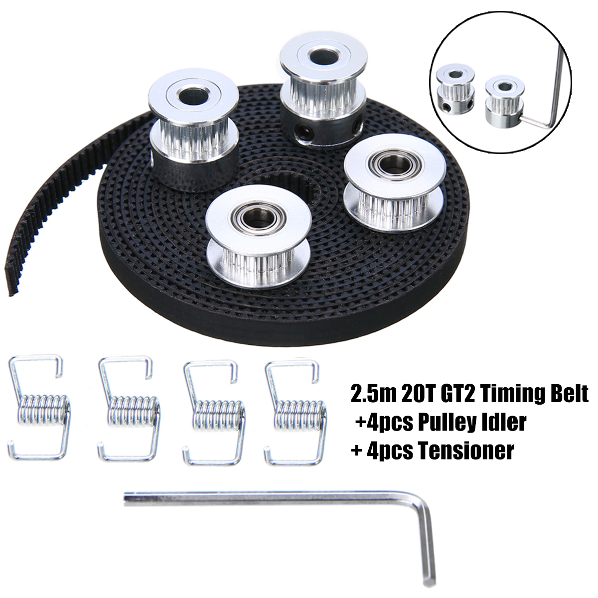 New 2.5m 20T GT2 Timing Belt +4pcs Pulley Idler + 4pcs Tensioner 3D Printer Tool Set цены
