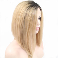 Pervado Hair High Temperature Fiber Synthetic Lace Front Wigs for Women Bob Short Straight 12 Blonde Ombre Wig for Women