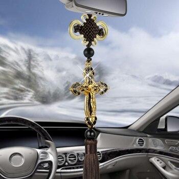 جديد سيارة قلادة معدنية الماس الصليب يسوع المسيحية الدينية سيارة مرآة الرؤية الخلفية الحلي معلقة السيارات اكسسوارات السيارات التصميم