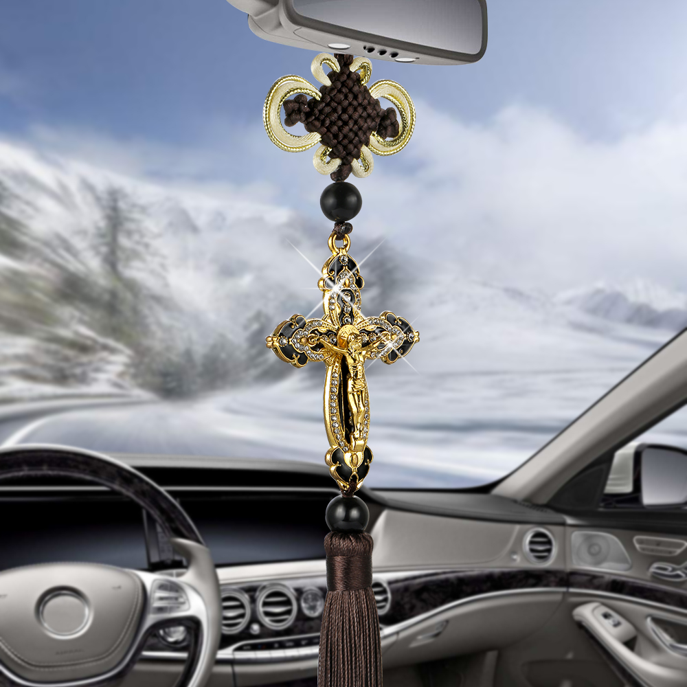 White Bling Car Rearview Mirrors Pendant Alloy White Cross, Car Interior Accessories for Women,Jesus Crystal Ornament Double-sided Diamond Car Accessories
