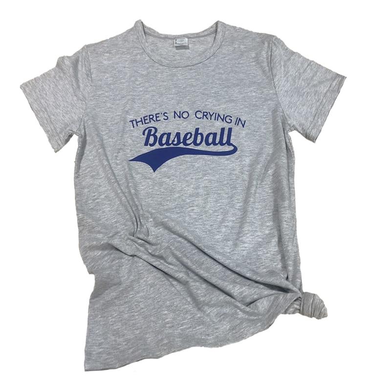 Theres No Crying in Baseball Mens Fashion Short-Sleeved Tee Shirt