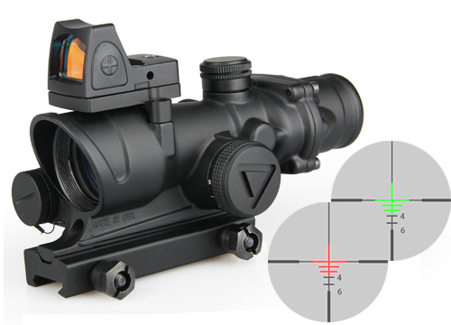 airsoft tactical optical sight acog 4x32 led scope with mini red dot