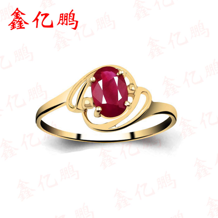 Fine jewelry 18 k gold inlaid natural ruby ring female ring 0.6 carats 4 * 6 mm A wedding ring ...