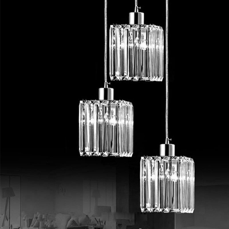 1/3 heads lamps Restaurant LED crystal Pendant Lights personality creative circular lamp modern minimalist pendant lamps LU1030 3 heads black pendant lights sail lang restaurant three word chassis led creative stage crystal pendant lamp sj138