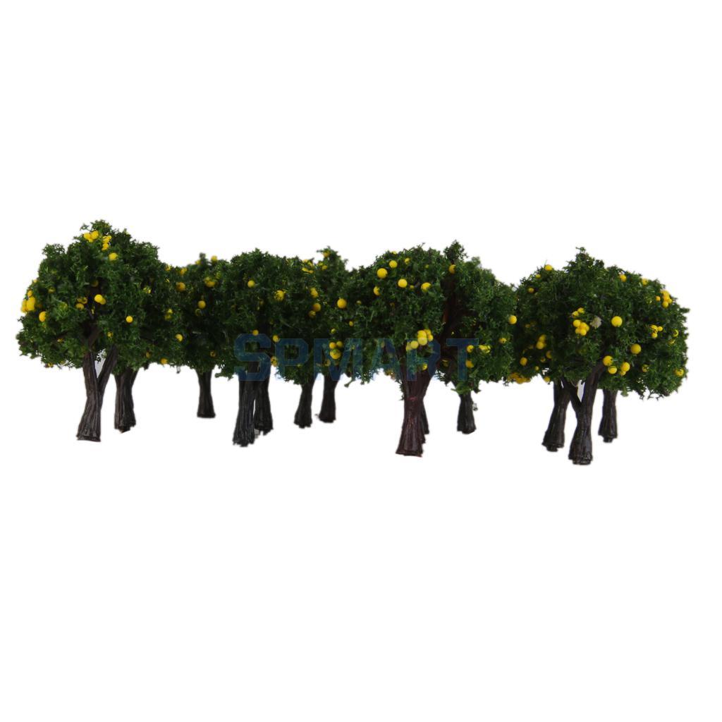 20pcs Model Train Green /Orange /Yellow Fruit Trees Garden Street Layout Scale 1/300 4CM