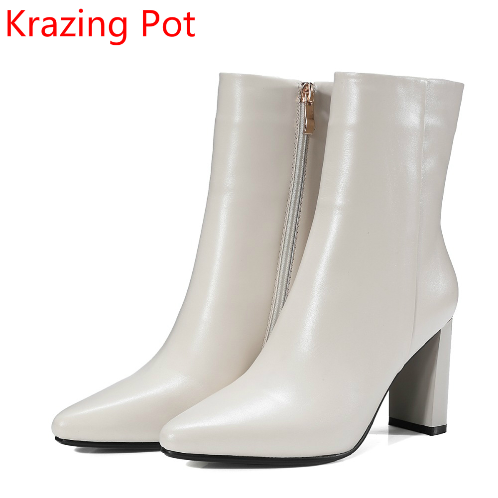 2018 Hot Sale Superstar Genuine Leather Fashion Winter Shoes Zipper Thick Heel Motorcycle Boots Party Women Mid-Calf Boots L67 new fashion superstar brand winter shoes embroidery snow boots tassel women mid calf boots thick heel causal motorcycles boots