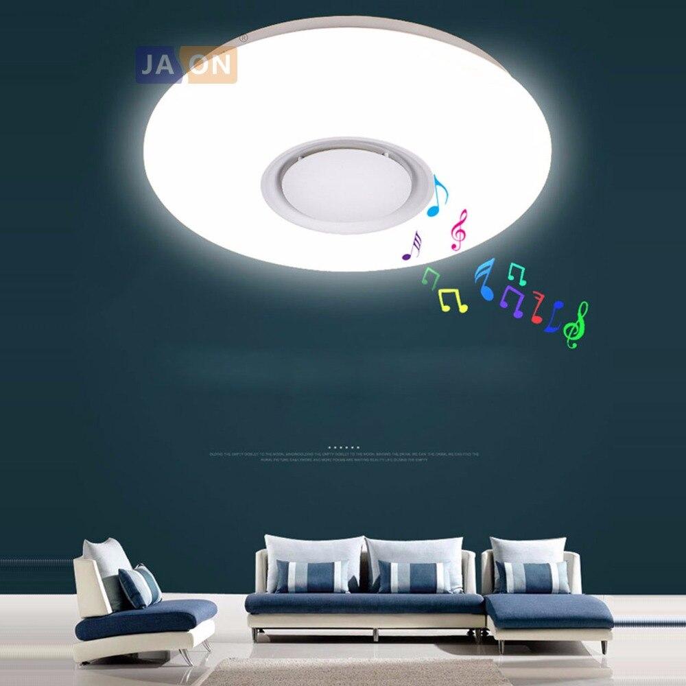 LED nordique fer acrylique rond blanc Bluetooth Musical lustre éclairage lampe à LED lumière LED pour Foyer chambre Foyer