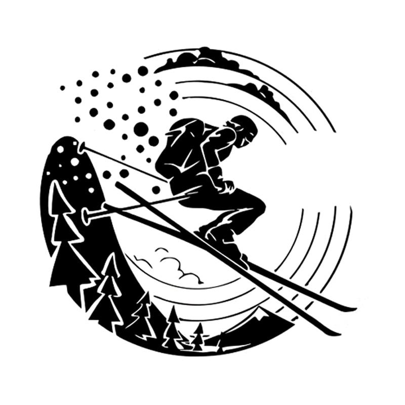 14.3CM*13.9CM Interesting Extreme Ski Sport Decoration Silhouette Black/Silver Vinyl Car Sticker S9-1126