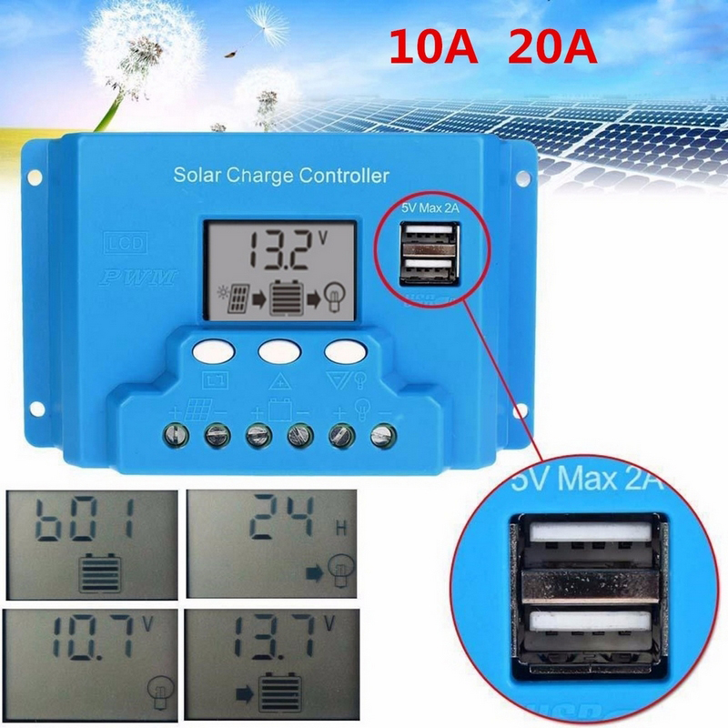 10A 20A 12V/24V Solar Charge Controller LCD Display Auto Intelligent Solar Cell Battery With Dual USB Port Charge Controller