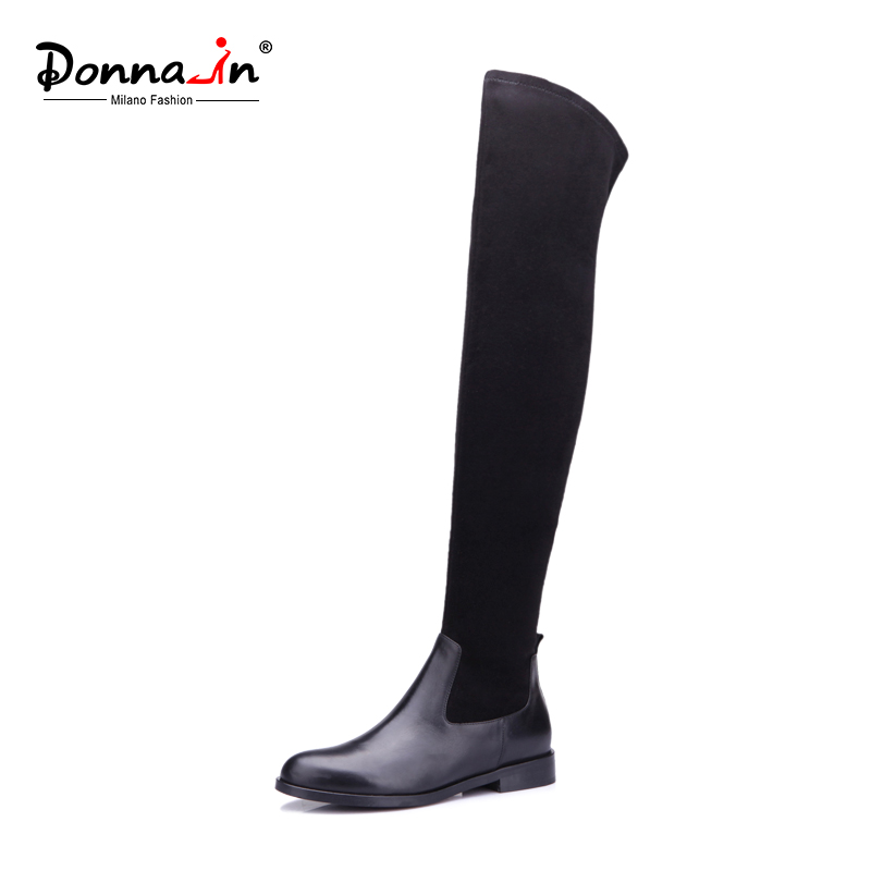 Donna-in elastic microfiber thight high boots above knee calf leather women shoes leggy long booties round toe flat ladies boots donna in genuine leather women boots shoes classic round toe thick heel ankle boots black calf leather ladies boots