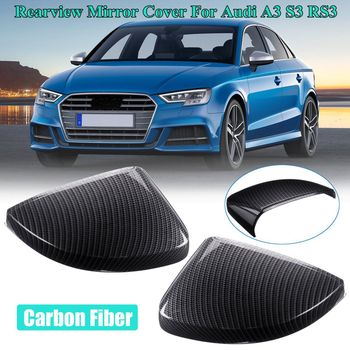 Pair ABS Side Mirror Covers Caps (Carbon Look) For Audi A3 S3 RS3 2013 2014 2015 2016 2017 2018 2019 Styling Replacement